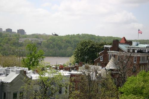Marine One flying upriver past Georgetown